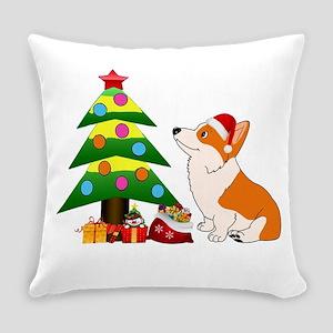 Christmas Corgi Cartoon Everyday Pillow