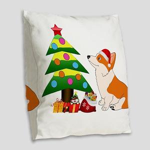 Christmas Corgi Cartoon Burlap Throw Pillow