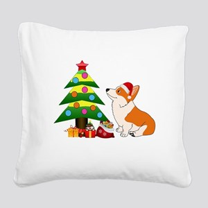 Christmas Corgi Cartoon Square Canvas Pillow