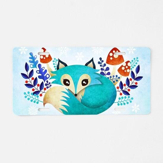 Cute Fox Aluminum License Plate