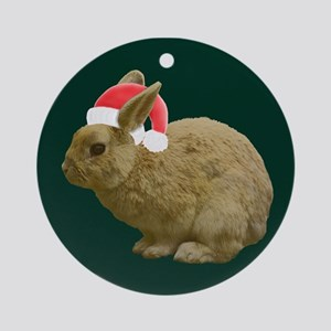 Christmas Bunny Round Ornament