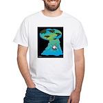 Flat Earth Cartoon 7540 White T-Shirt