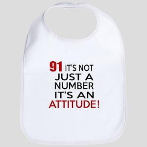 91 It Is Just A Number Birthday Designs Bib