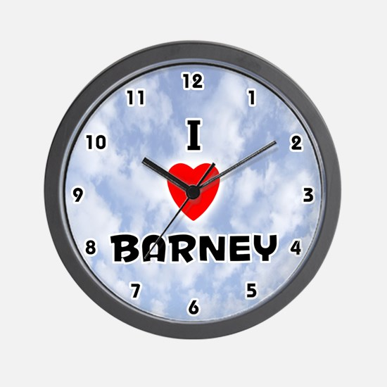 I Love Barney (Black) Valentine Wall Clock