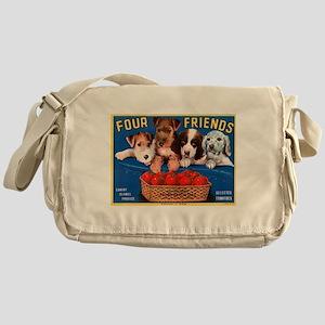 Vintage Dogs Label Messenger Bag