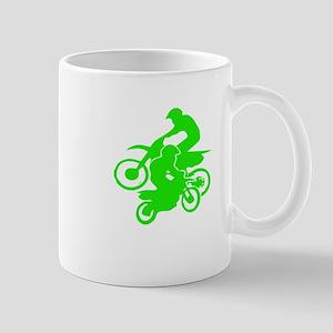 Motocross Duo Neon Green Dirt Bikes Mugs