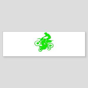 Motocross Duo Neon Green Dirt Bikes Bumper Sticker