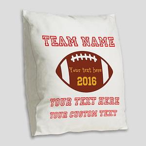 Football Personalized Burlap Throw Pillow