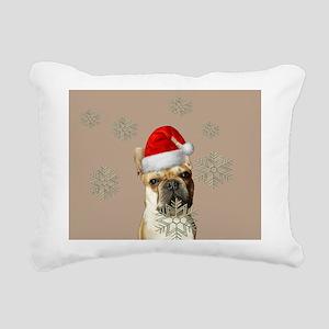 Christmas French Bulldog Rectangular Canvas Pillow