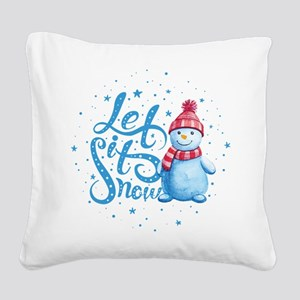 Let It Snowman Square Canvas Pillow