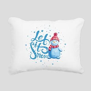 Let It Snowman Rectangular Canvas Pillow