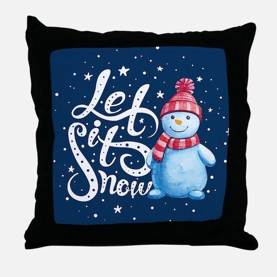Let It Snowman Throw Pillow