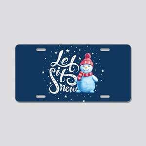 Let It Snowman Aluminum License Plate