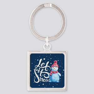 Let It Snowman Square Keychain
