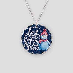 Let It Snowman Necklace Circle Charm