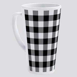 Black White Gingham 17 oz Latte Mug