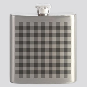 Black White Gingham Flask