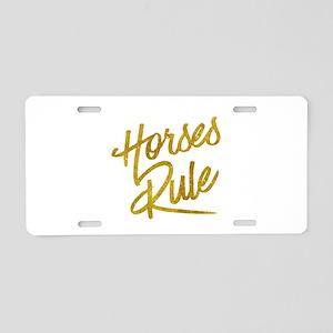 Horses Rule Gold Faux Foil Aluminum License Plate
