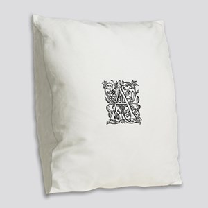 Vintage Letter A Burlap Throw Pillow