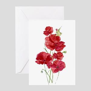Watercolor Red Poppies Flowers Hummingbird Bird Gr