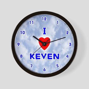 I Love Keven (Blue) Valentine Wall Clock