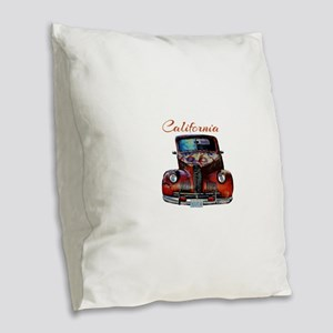 California Route 66 Truck Burlap Throw Pillow