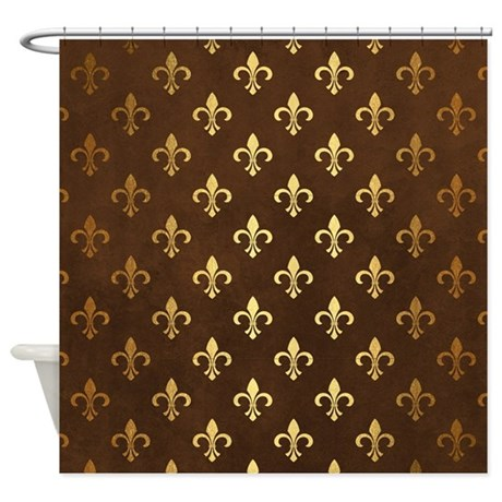 Brown Fleur De Lis Gold Shower Curtain By HotShowerCurtainStore