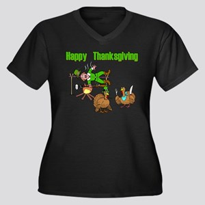 Funny Thanksgiving Women's Plus Size V-Neck Dark T