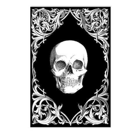 Elegant Black Skull Postcards (Package of 8)