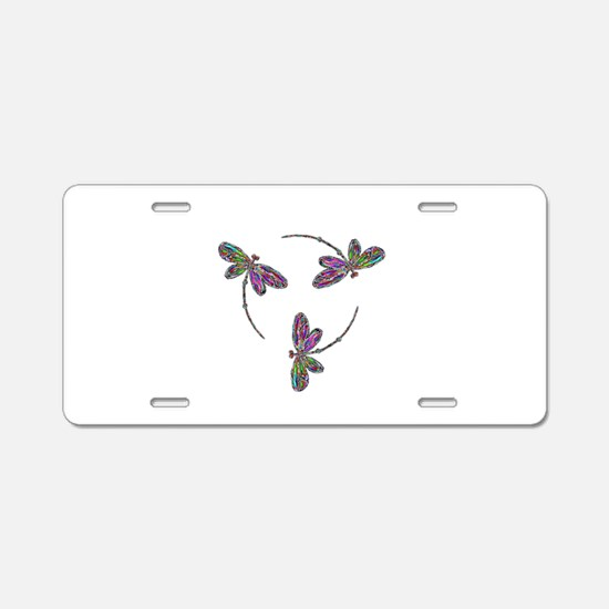 Neon Dragonfly Trinity Aluminum License Plate