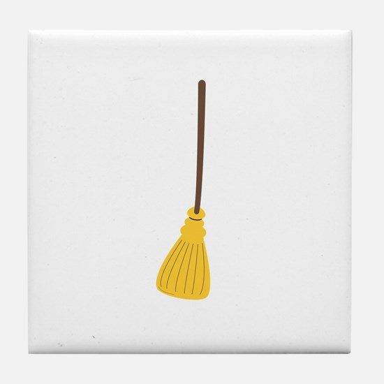 Witches broom for halloween Tile Coaster