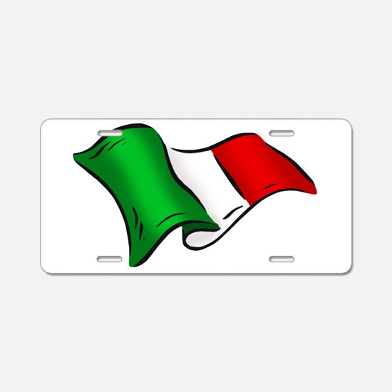 Waving Italian Flag Aluminum License Plate