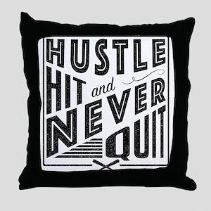 Baseball Hustle Hit & Never Quit Throw Pillow