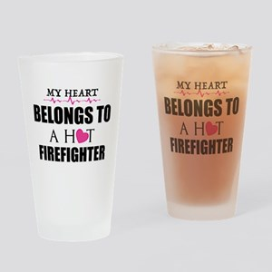 MY HEART BELONGS TO A HOT FIREFIGHTER Drinking Gla
