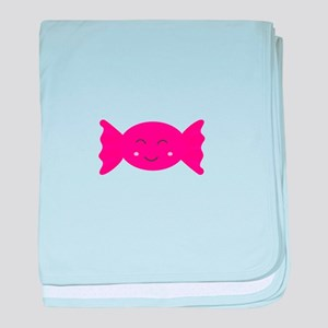 Pink candy bonbon with smile baby blanket