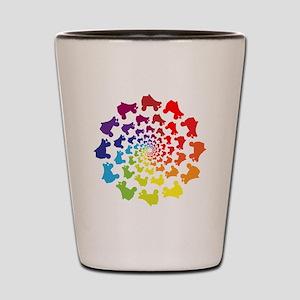 rainbow circle skate Shot Glass