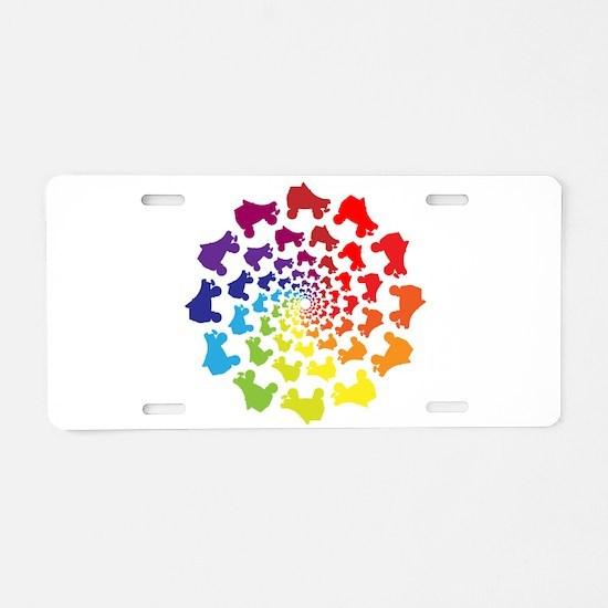 rainbow circle skate Aluminum License Plate