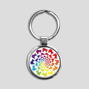 rainbow circle skate Keychains