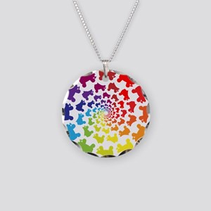 rainbow circle skate Necklace