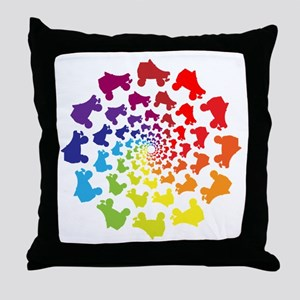 rainbow circle skate Throw Pillow