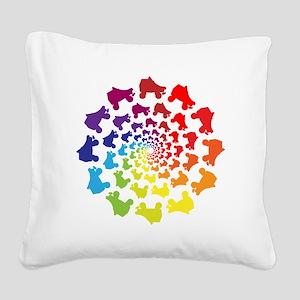 rainbow circle skate Square Canvas Pillow