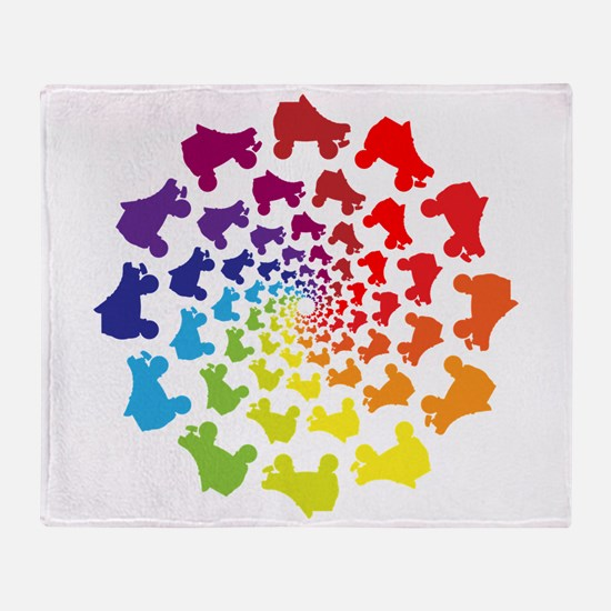 rainbow circle skate Throw Blanket