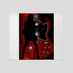 Rock Guitarist Throw Blanket