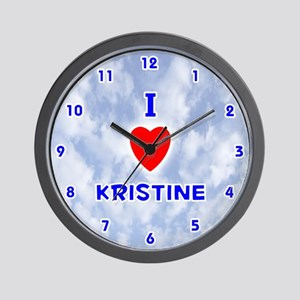 I Love Kristine (Blue) Valentine Wall Clock