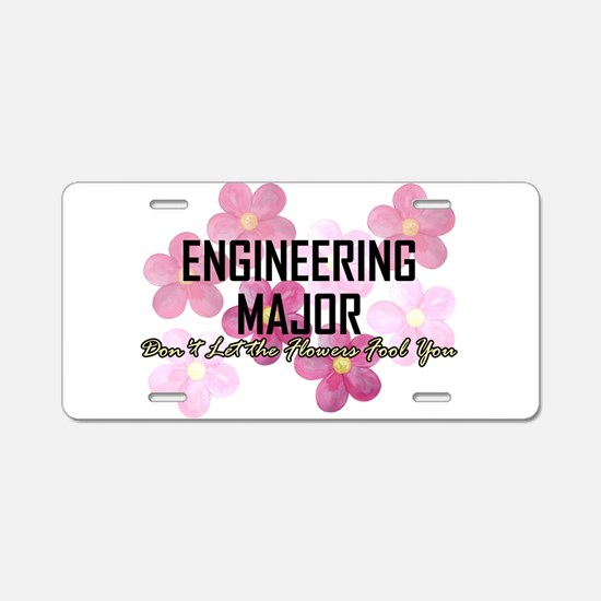 Engineer's Flower Power Aluminum License Plate