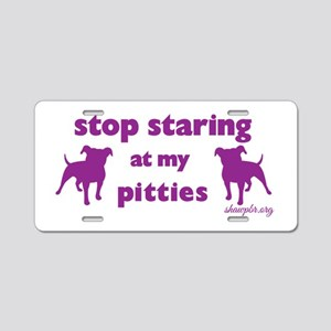 Stop Staring - Purple Aluminum License Plate