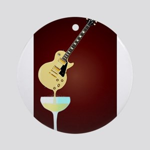 Guitar Wine Round Ornament