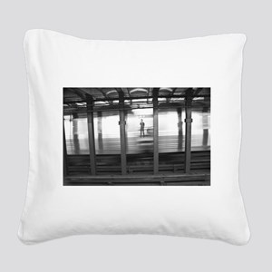 New York Subway Ghost Square Canvas Pillow