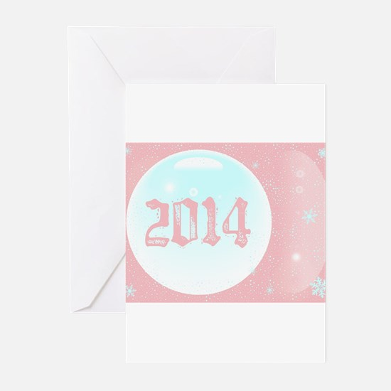 Pink New Year Greeting Cards