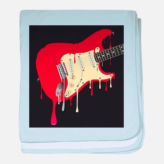 Melting Electric Guitar baby blanket